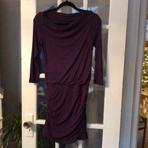 Theory dark purple plum dress ruched details S P